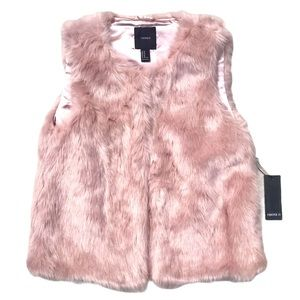Dusty pink faux fur lined vest NWT
